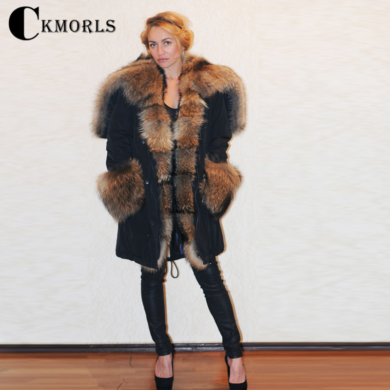 CKMORLS Real Raccoon Fur Coat Women Winter Jackets With Natural Fur Collar Thick Warm Outwear For Female Parka Coats Plus Size