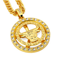 Chicago Bulls Necklace Hip Hop Men Jewelry Cool Gift Gold Plated Chain Big Pendant Necklaces 2016