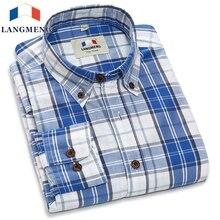 Langmeng Brand 2016 New Mens 100% Cotton Plaid Shirts Men Long Sleeve Fashion Casual Shirt Male Dress Shirts Chemise Homme