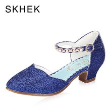 SKHEK Brand Kids Shoes  Summer Girls Princess Sandals Children Closed toe Dress Blue Pink Silver B511-6