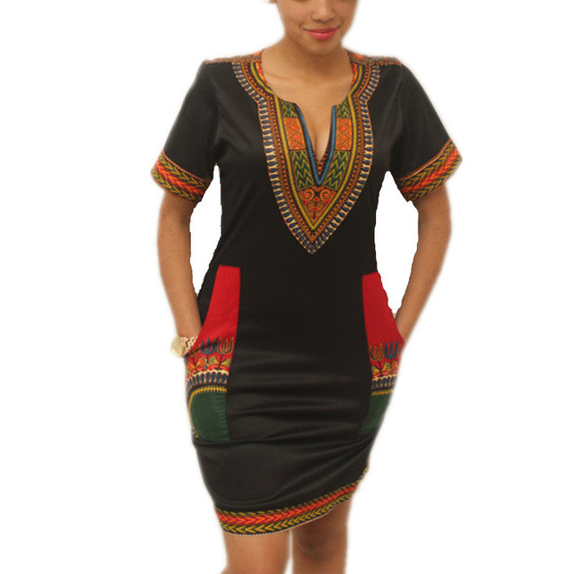 ea810b1e20a8d Dashiki Summer Dress 2017 Sexy African Print Shirt Dresses Femme Vintage  Mini hippie Boho Dress Casual Women Clothing
