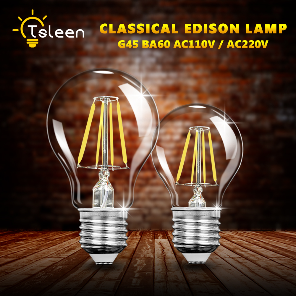 TSLEEN A60 E27 LED Bulb Filament Light Glass Dimmable Bulb G45 220V 110V 4W 8W 12W 16W Edison Lamp Lampada Antique Vintage Led e27 led light ac220v 240 v 4 w 6 w filament lamp bulb of the sphere of the ancient back edison lamp led g45 a60 white hot light