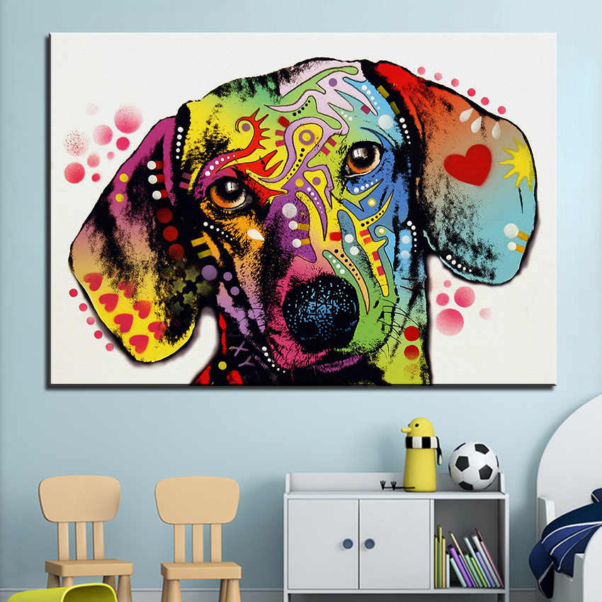 Large size Print Oil Painting Wall painting dachshund dog Home Decorative Wall Art Picture For Living Room paintng No Frame