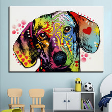 Large size Print Oil Painting Wall painting dachshund dog Home Decorative Wall Art Picture For Living Room paintng No Frame(China)