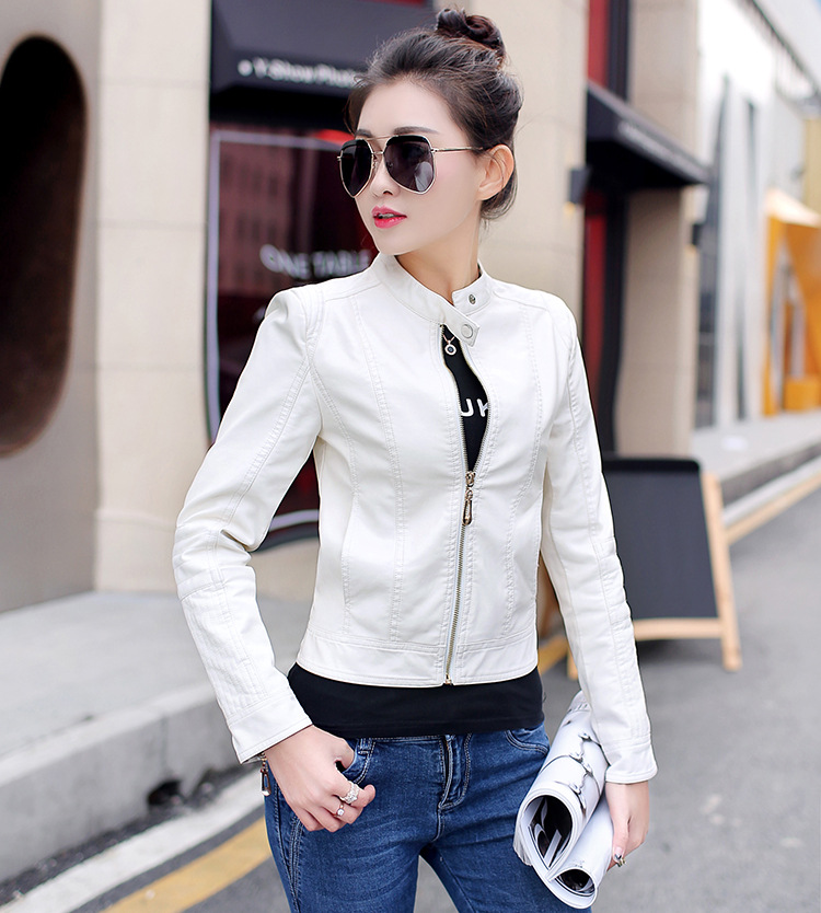 2018 Women Leather Jacket Single Pimkie Washed PU Leather Motorcycle Jacket PIMKIE Jacket Slim Female Soft Leather Large Black