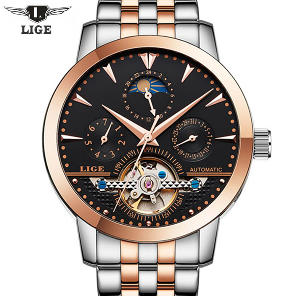 Top Brand Fashion Luxury LIGE Mens Business Mechanical Watches Full Steel Waterproof Watch Men Tourbillon Automatic Wristwatches mens branded luxury fashion watch men automatic ultra thin gold full steel mesh watches men dress mechanical watch orologio uomo
