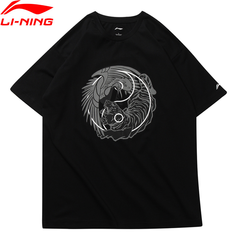 Li-Ning Men T-Shirt NYFW CHINESE Tai Chi PRINT TEE Regular Fit Breathable LiNing Sports Tee AHSN735/AHSN691 MTS2760 men ombre letter print tee