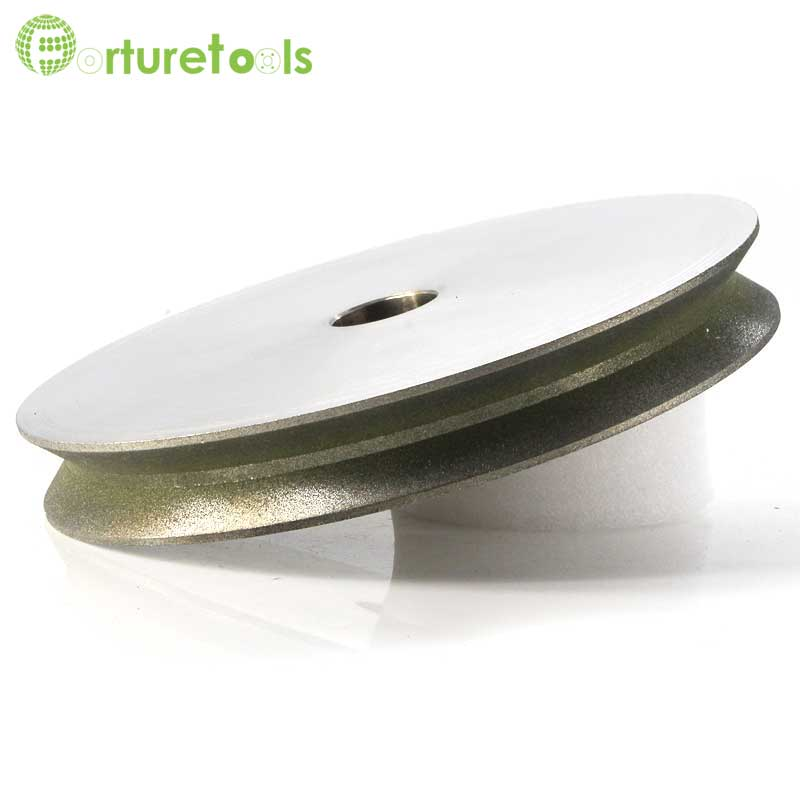 One piece V groove electroplated diamond grinding wheels for glass marble stone edge shaping 4