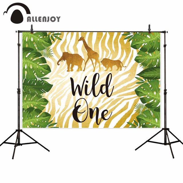 Allenjoy photo background wild one jungle gold safari west backdrop photocall photobooth fabric photo shoot prop studio