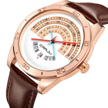 544e9cb4e9ae Crrju hombres lujo de cuero relojes hombre divertido binario reloj  calendario Japón movimiento impermeable reloj Erkek