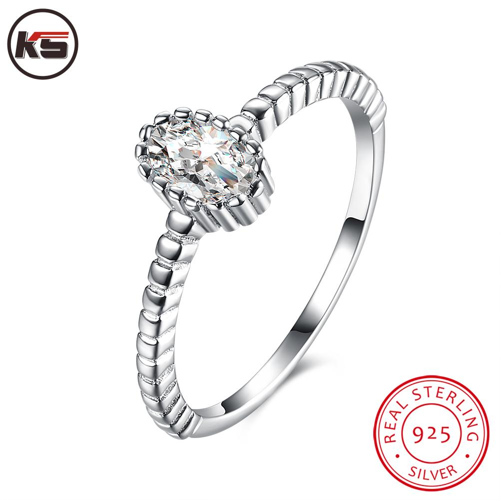 100% Real 925 Sterling Silver Wedding Rings For Women Classic Crown Inlay  Cz Diamond Engagement