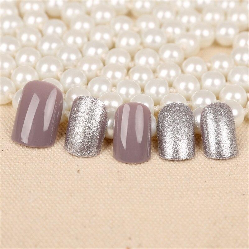 24pcs free glue Pre Design short Fake Nails French False Nails Grey ...