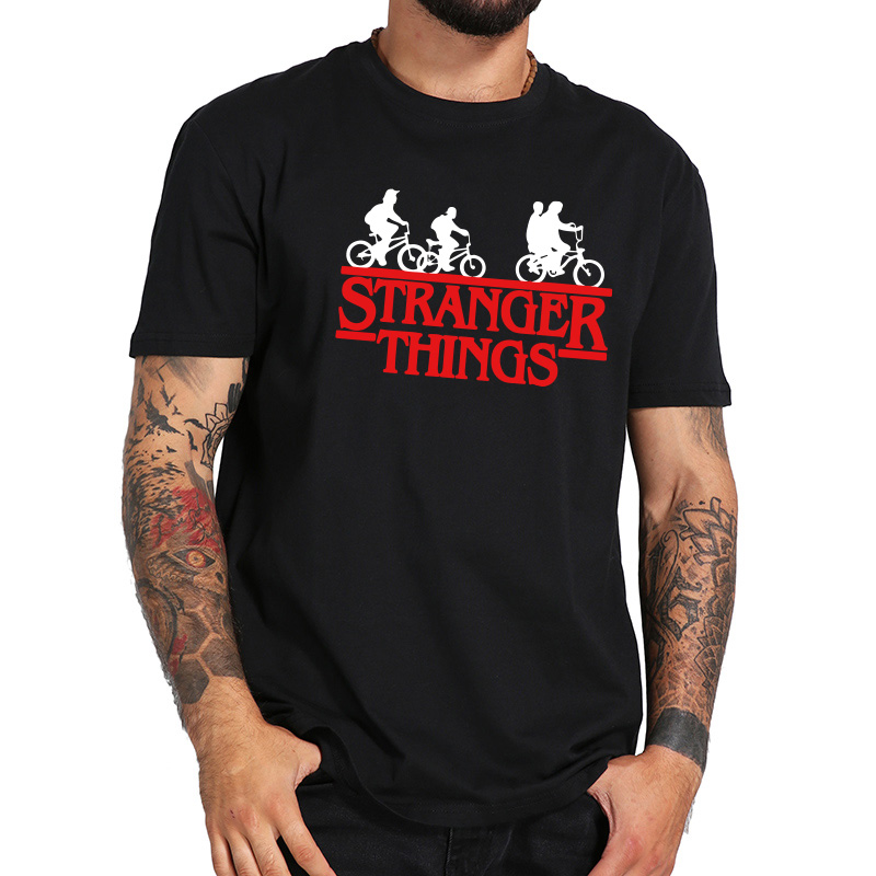 New Arrival EU Size 100% Cotton Stranger Things   T     Shirt   TV Show Third Season Short Sleeve Men Black Original Tshirt Tops Tee