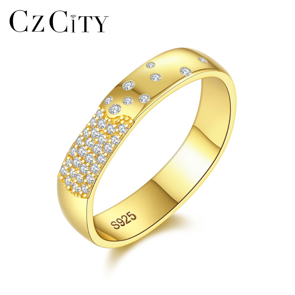 CZCITY Brand Classic 18K Gold Color Wedding Ring For Women Shining Petite Cubic Zircon Rings For Lover's Silver 925 Jewelry Gift