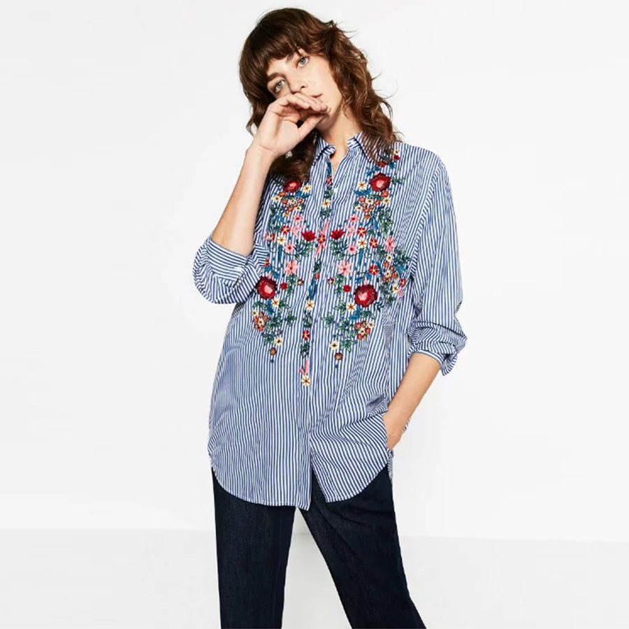 Embroidery female blouse shirt Casual blue striped shirt 2016 autumn winter cool long sleeve blouse women tops blusas