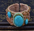 New fashion Bohemian estilo natural turquesa pulseiras & bangles brown talão de largura handmade braid pulseira da moda manguito para as mulheres