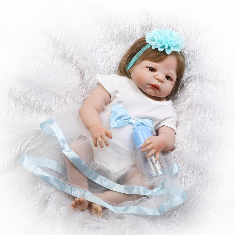 Nicery 22inch 55cm Bebe Reborn Doll Hard Silicone Boy Girl Toy Reborn Baby Doll Gift for Children Blue Flowers Hat Baby Doll nicery 22inch 55cm bebe reborn doll hard silicone boy girl toy reborn baby doll gift for children white hat red dress baby doll