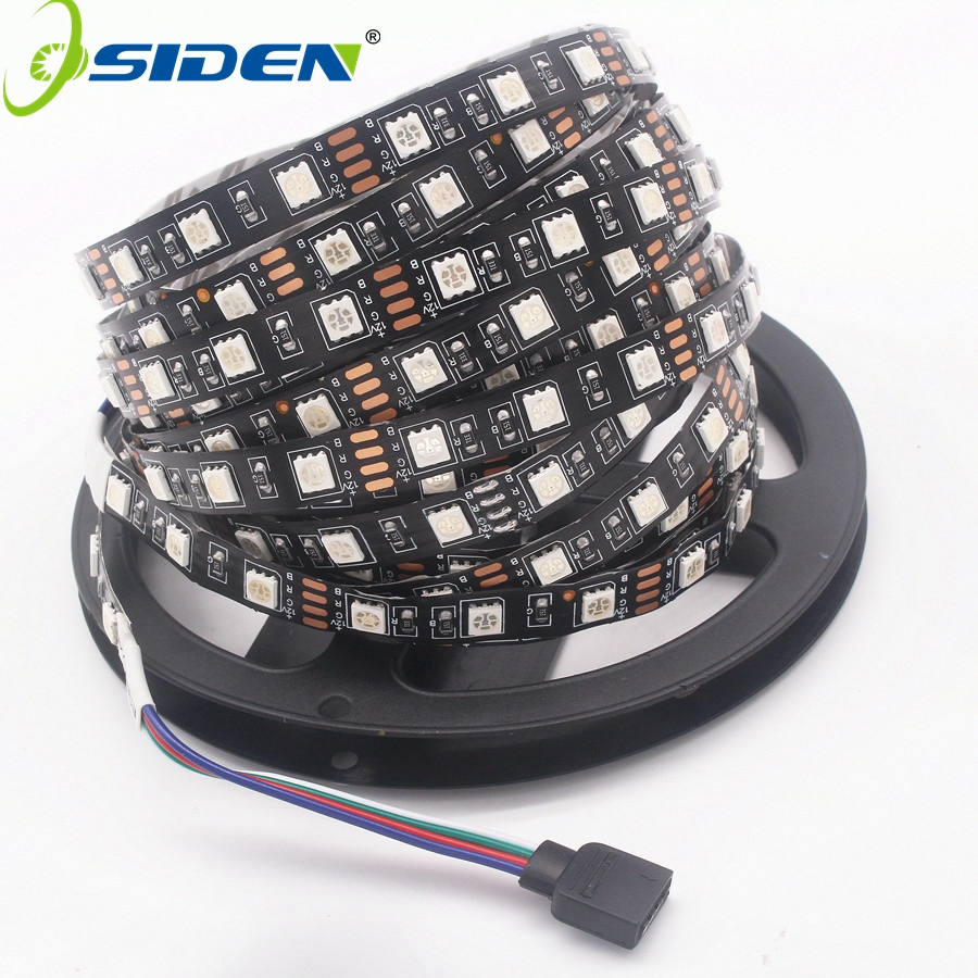 OSIDEN 5M Black PCB RGB 5050 LED tape White / Warm White / Blue LED Strip SMD 5050 DC12V IP20 NO Waterproof 60LED/m Led Strings 5m dc12v waterproof led strip 5050 smd 60led m flexible led light white warm white red green blue rgb tape ribbon