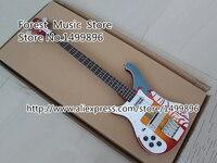 カスタムショップ多色トップ電気左利きギター4弦リック· r4003ギターエボニーフレットボードホローエレクトリックベースギター中国送料無料