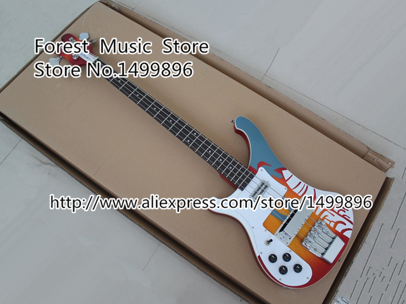 Custom Shop Multicolour Top Electric Left Handed Bass Guitar 4 String Rick R4003 Ebony Fretboard Bass Guitar China Free Shipping