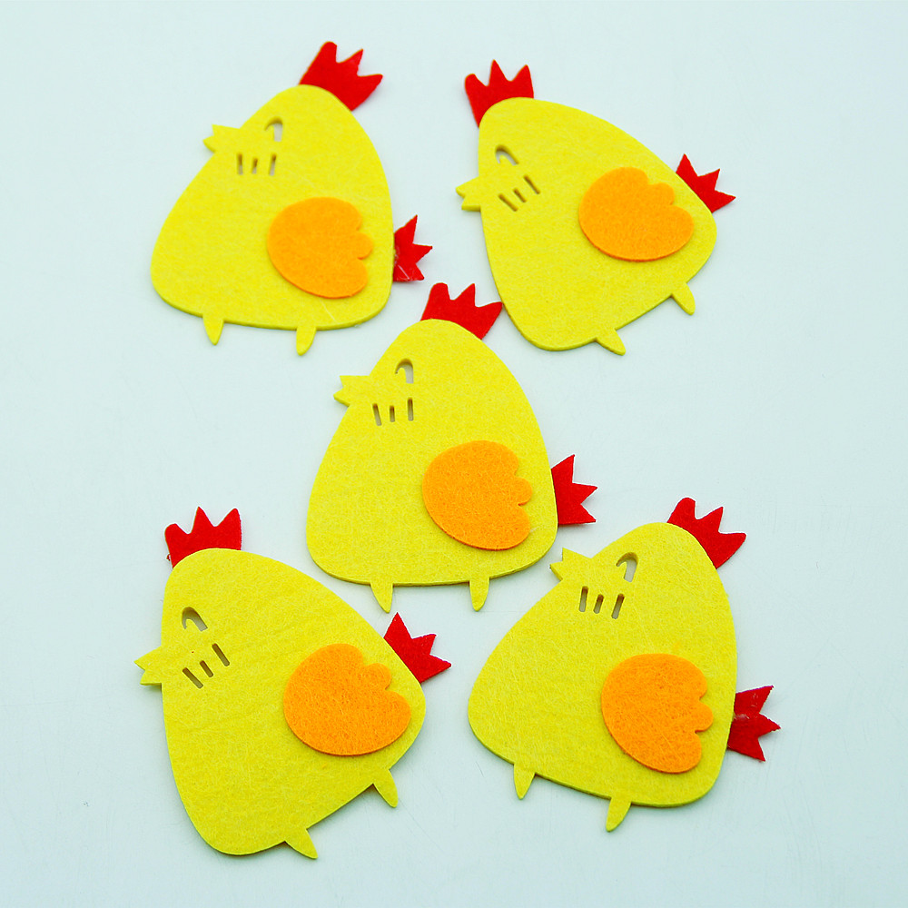 Lovely Cute Free Cutting Felt 5pcs Chicken Animal Theme Cloth Fabric Material For DIY Making Craft Decor Kindergarten Room Walls