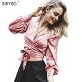 Mulheres Verão Blusas Camisa Femme Cetim Deslizamento Elegante Arco Do Vintage Lace Up Decote Em V Profundo 2016 das Mulheres camisa Das Mulheres de Culturas topos
