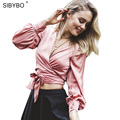 Women Summer Femme Blouses Shirt Satin Slip Elegant Vintage Bow Lace Up  2016 Deep V Neck  Women's shirt Women Crop Tops