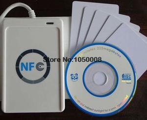 Image 1 - USB ACR122U NFC rfid מגע חכם IC כרטיס/תג וסופר 13.56MHz + 5pcs nfc IC כרטיסי + 1 SDK CD