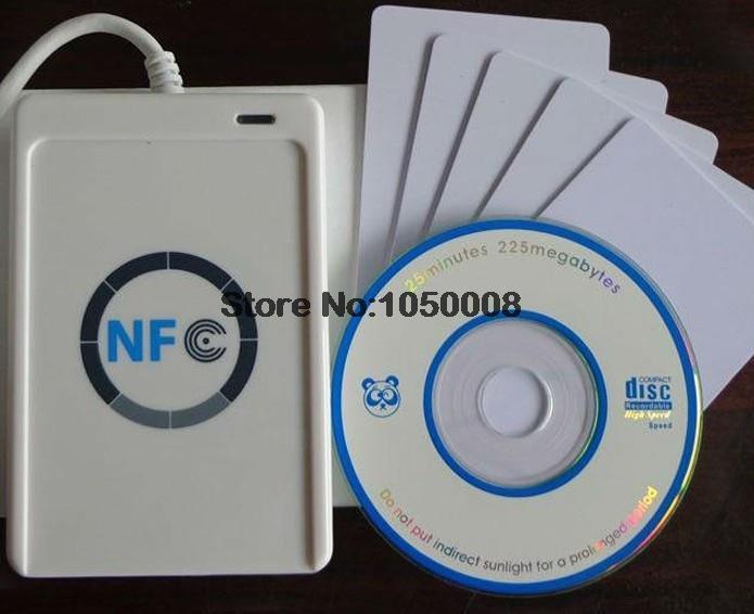 USB ACR122U NFC rfid Inteligentes sem contato IC Card/tag nfc Reader e Escritor 13.56 mhz + 5 pcs IC cartões + 1 SDK CD