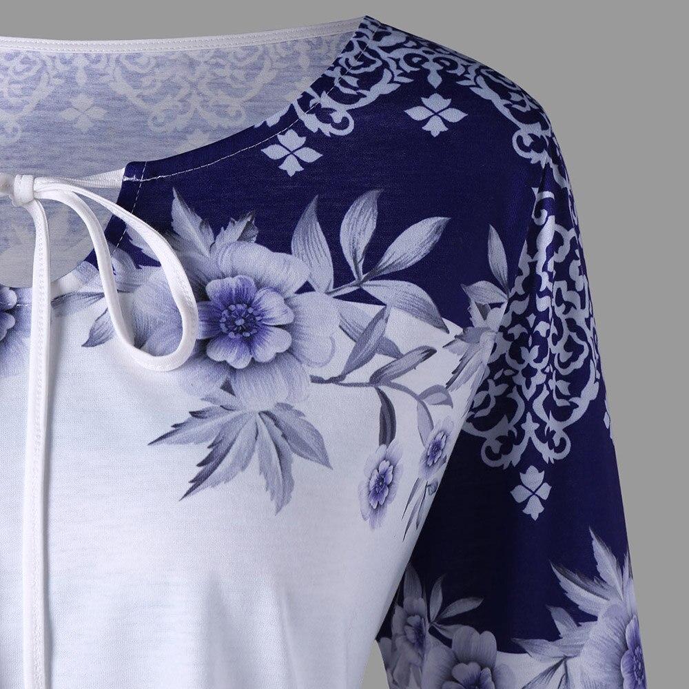 LANGSTAR Plus Size Blouse Women Print Keyhole shirt Women Long Sleeve shirt Blue and White Spring Plus Size Women Blouse