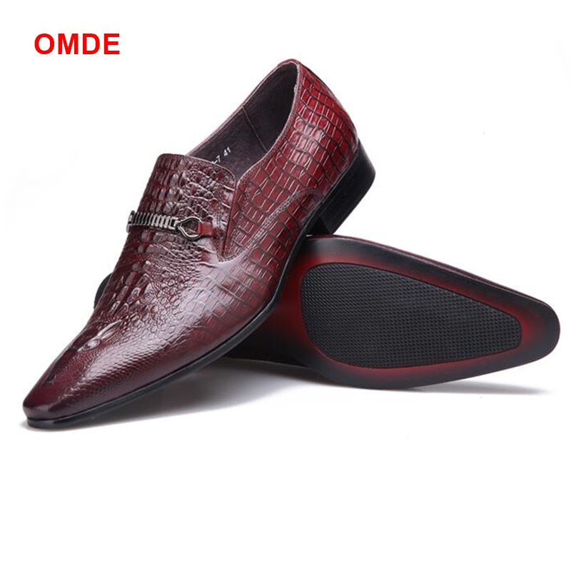OMDE Crocodile Pattern Mens Dress Shoes Fashion Pointed Toe Business Formal Shoes Men Slip-on Italian Leather Loafers Prom Shoes exquisite colorful flowers and girl pattern removeable wall stickers