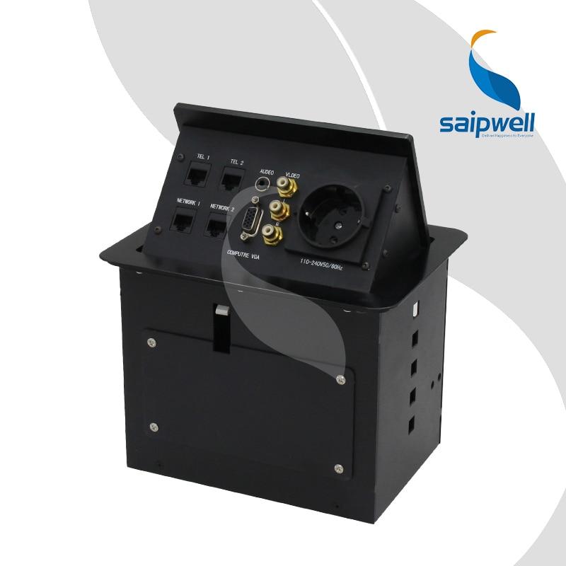 Tabletop pop up socket conference table plug base desk connector box with European Socket VGA Video Audio tel network SPM 403EU