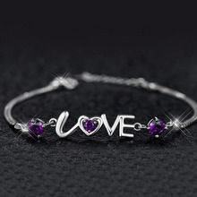 Silver Jewelry I Love You Purple Clear Crystal Bracelet Lovely Fashion Brand Retro Girls Rhinestone Gift