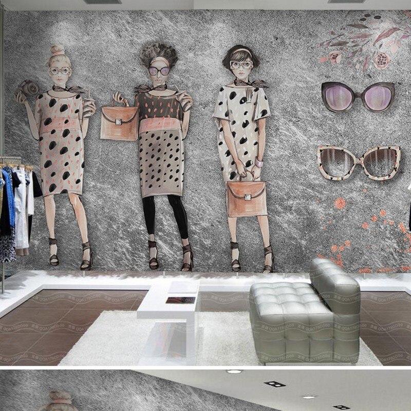Livraison gratuite personnalisé 3d papier peint mural rétro peint à la main beauté magasin de vêtements toile de fond papier peint mural