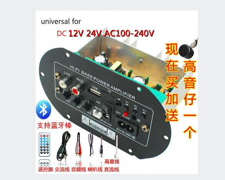 universal 12V24V220V support USB subwoofer car amplifier audio car audio with remote control FULL SET