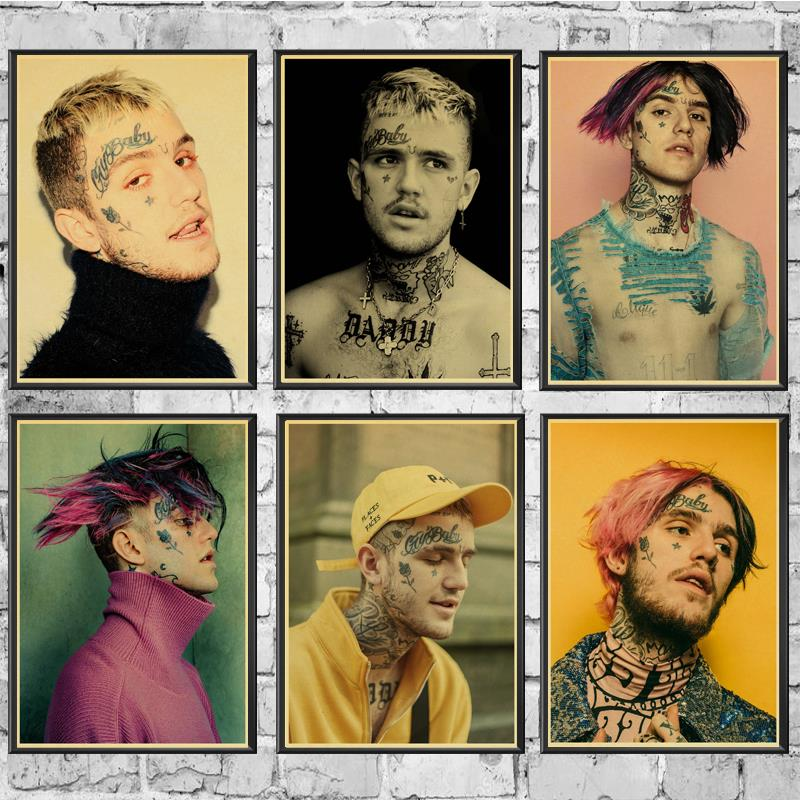 Hip Hop Rapper Lil Peep Poster Wall Stickers Vintage Poster Prints High Quality For Living Room Home Decor