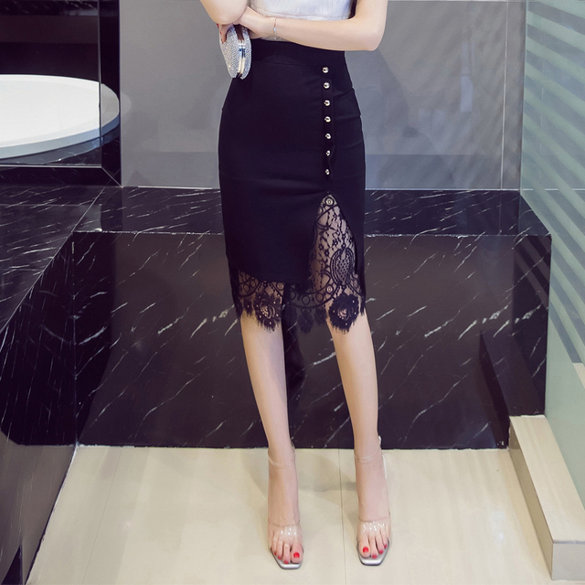 Women's Elegant Pencil Skirt with Lace Decoration