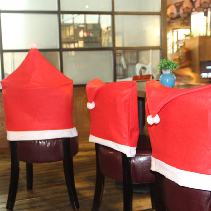 Chair Covers New Year Modern Grey Kitchen Chairs 6pcs Santa Claus Hat Christmas Decoration Dinner Table Decor Home Party Supplies