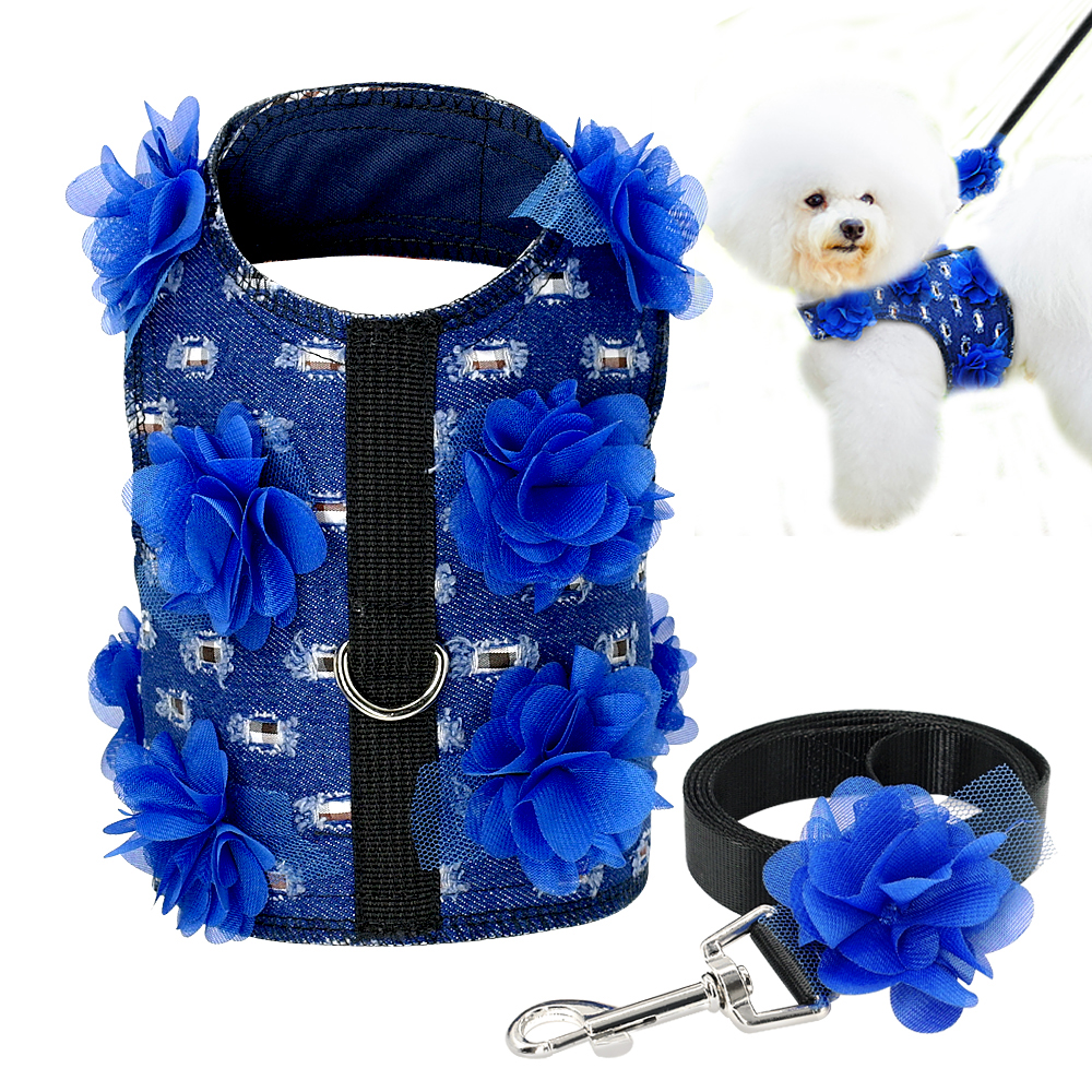 Didog Small Dog Harness and Leash set Jeans Dog Harness Pet Vest With Flower For Chihuahua Yorkies S M L