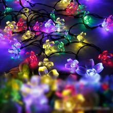 12pcs/lot Festival Accessories 7 Meter Flower Design Solar Flashlights LED Flash String Night Lamps Decorative Lights HX457