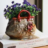 ceramic small vintage flowers Baskets vase home decor crafts room decoration handicraft porcelain figurines wedding decorations