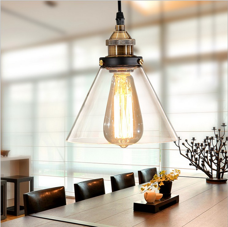 Nordic American minimalist industrial style LOFT Bar Cafe hotel living room chandelier,glass funnel copper head lights lamp living room european style minimalist personality study innovative small terrace restaurant cafe funnel crystal chandelier lamp