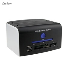 Leadzoe USB 2.0 Multi-function 2.5″ 3.5″ SATA IDE HDD Docking Station Enclosure Dual Bay Hard Disk Drive Dock Esata USB Hub