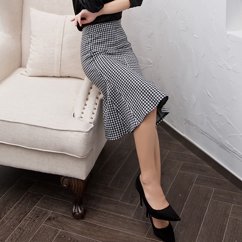 Black Little Arrival Women New Plaid Elastic Mermaid Package White Skirts High Waist Hip Quality Brand 2019 Skirt With And FWgZqvZA
