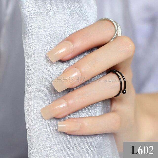 DIY Transparent yellow long sectionsquare head false nails 24pcs New ...