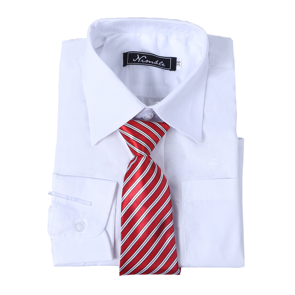 boys shirts for Suit Free Tie All match Blouse Full Sleeve Turn down Collar shirts for