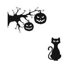 1 PC Wall Sticker Halloween PVC Adhesive Jack O Lantern and Cat Wall Decal Sticker for Corridor Reading Room Living Room(China)
