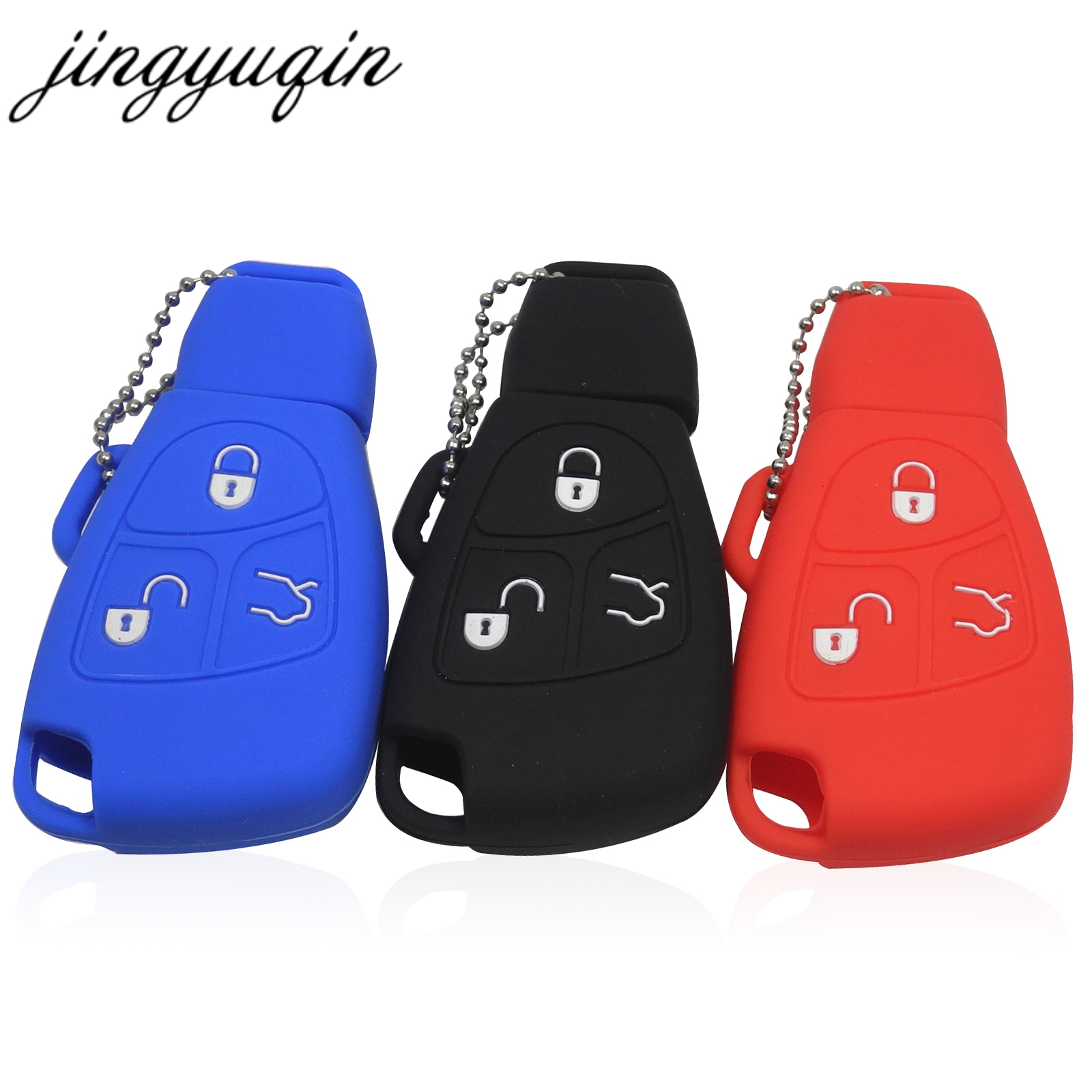jingyuqin Silicone Cover For Mercedes Benz B C E ML S CLK CL 3 Buttons Remote Key Fob Case недорого