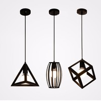 Black Iron Pendant Light Geometric Pendant Lamp E27 Holder Retro Design Lighting Birdcage Style Lamp For