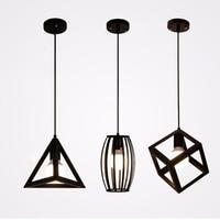 Black Iron Pendant Light Geometric Pendant Lamp E27 Holder Retro Design Lighting Birdcage Style Lamp For